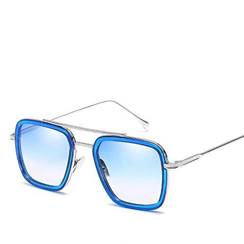 Kuletieas Gafas de sol cuadradas vintage mujer hombre retro Iron Man con el mismo párrafo Gafas de sol para Lady Men Glasses 2019