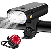 Te-Rich Bike Lights , 800 Lumen Dual LED Bike Headlight with Wide Beam/Safety Sidelights, Super Bright Rear Bike Tail Light, Bicycle Lights Front and Rear Rechargeable for Road Mountain Kids Bike