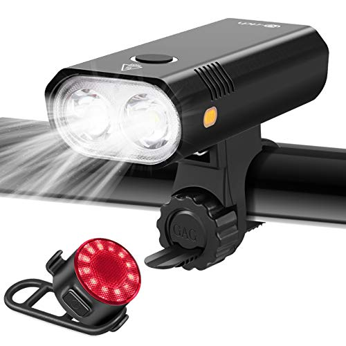 Te-Rich Bike Lights, Dual LED Bike Headlight with Wide Beam/Safety Sidelights/800 Lumen, Super Bright Rear Bike Tail Light, Rechargeable Bicycle Lights Front and Rear Back for Road Mountain Kids Bike
