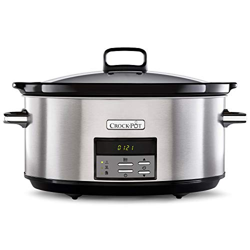 Crock-Pot Digital-Schongarer Slow Cooker | einstellbare Garzeit | 7,5 Liter (10+ Personen) | rostfreier Stahl [CSC063X]