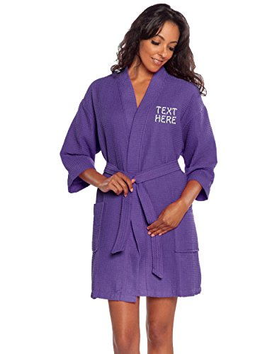 Personalized Embroidered Robes – Custom Waffle Kimono Robe – Monogrammed Bathrobes