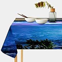 Mskyoo テーブルクロス 夜の滝 マルチ 撥水 北欧 耐熱 テーブルカバー 食卓カバー テーブルマット 汚れ防止 防油 洗える インテリア 食事用 正方形 長方形 家庭用 レストラン用 140x140cm