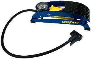 GOODYEAR 75523 Premium fotluftpump, enkelcylinder, manometer upp till 7 bar, halkfri fotplåt, dubbelhuvudsadapter