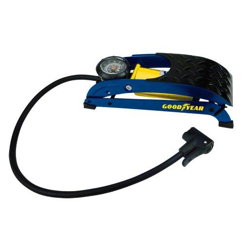 GOODYEAR 75523 Premium Fußluftpumpe, Einzylinder, Manometer bis zu 7 Bar, rutschsicheres Trittblech, Doppelkopfadapter