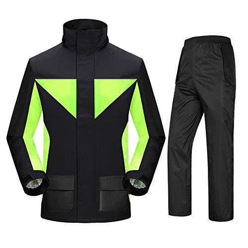 ZXLIFE@@@ Motorfiets-regenpak met ritssluiting, uniseks werkkleding, regenkleding met afneembare kap, herbruikbare regenjas met elastisch design