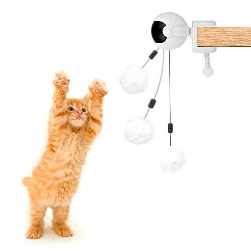 Pelota de Juguete interactiva para Perros, Gatos y Mascotas con Cuerda y Pelota de Felpa, el Elevador eléctrico provoca automáticamente, Pelota Auto-giratoria 360 °