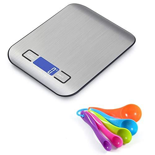 Self Ideas Bascula Digital de Cocina de Alta Precision con Cucharas Medidoras de Regalo. Balanza de cocina en gramos hasta 5 kg. Utensilios de Repostería. Pilas AAA incluidas.