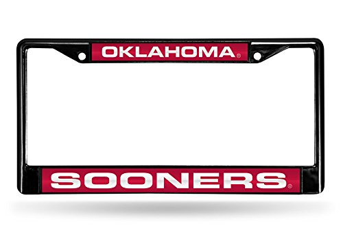 NCAA Rico Industries Laser Cut Inlaid Standard Chrome License Plate Frame, Oklahoma Sooners