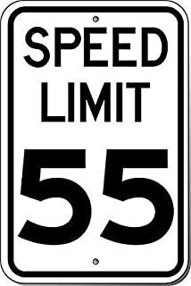 Guadalupe Ross Metal Tin Sign Speed Limit 55 Sign, Wall Decor Metal Sign 12x8 Inches