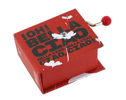 Caja de música con manivela de cartón en forma de libro (Ref: 1631) – Bella Ciao (Serie TV'La casa de papel')