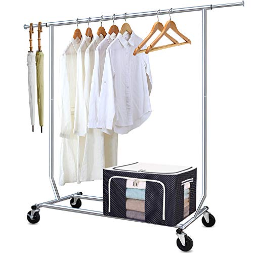 Camabel Clothing Garment Rack Heavy Duty Capacity 300 lbs Adjustable Rolling Commercial Grade Steel Extendable Hanger Drying Organizer Chrome Finish Storage Shelf With Wheels load up to 300lbs