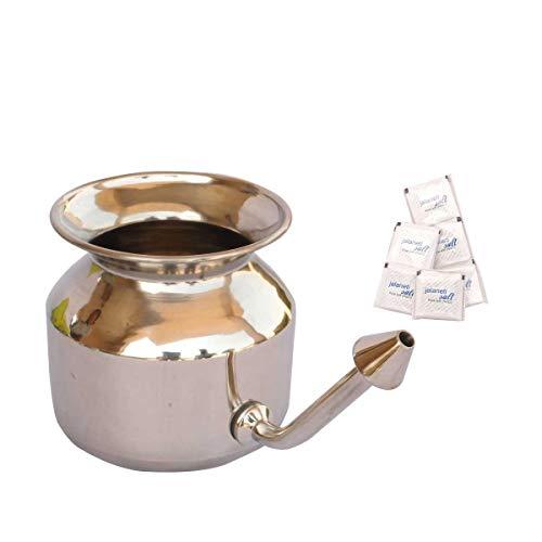 HealthAndYoga(TM) Superior Neti Pot Learner - Improver Kit - Unbreakable Stainless Steel Pot - Smooth Leak Plug Nose Tip - Pure Salt 25 Pieces