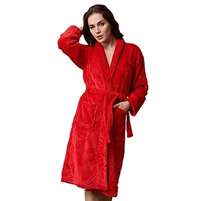 Simonshop Women's Flannel Warm Robe Plush Soft Fleece Bathrobe