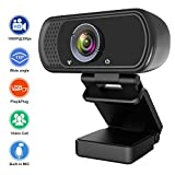 Webcam 1080P, Live Streaming Computer Web Camera with Stereo Microphone, Desktop...