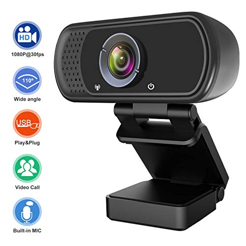 1080P Webcam, Live Streaming Computer Web Camera with Stereo Microphone, Desktop or Laptop USB Webcam with110-Degree View Angle, Webcam for Video Calling Recording Conferencing