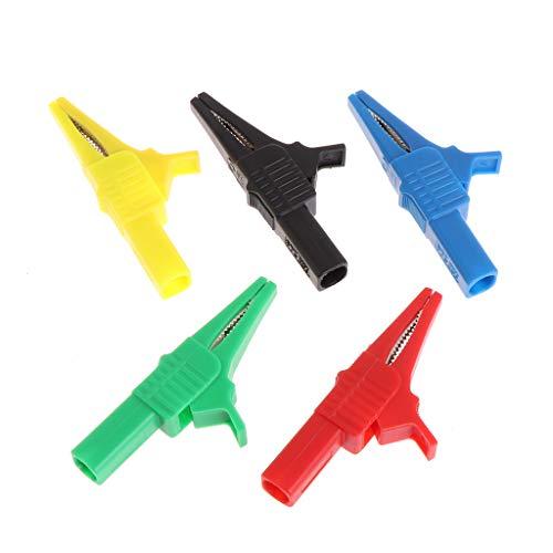 BIlinli 5 Piezas 5 Colores 32A 1000V Pinzas de cocodrilo de Seguridad para 4 mm Banana Plug Test Probe Meter Tester