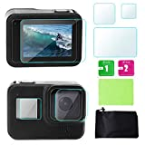 Screen Protector for GoPro 8 Black Tempered Glass Film for LCD Screen/Front Display/Lens Protective Accessory and Storage Bag for GoPro Hero 8