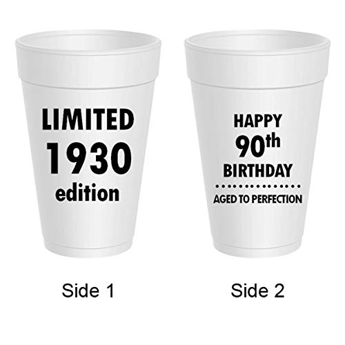Happy 90th Birthday Styrofoam Cups - Limited 1928 Edition, Aged To Perfection