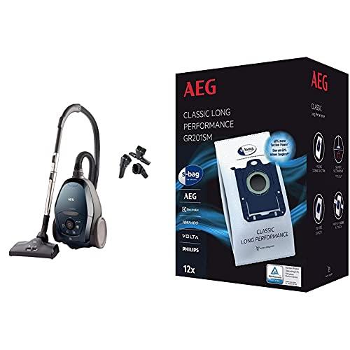 AEG VX82-1-2ST Aspiradora de Trineo con Bolsa, 600 W de Potencia, Filtro Higiénico Lavable + GR201SM Mega Plack Bolsa S-Bag Classic Long...