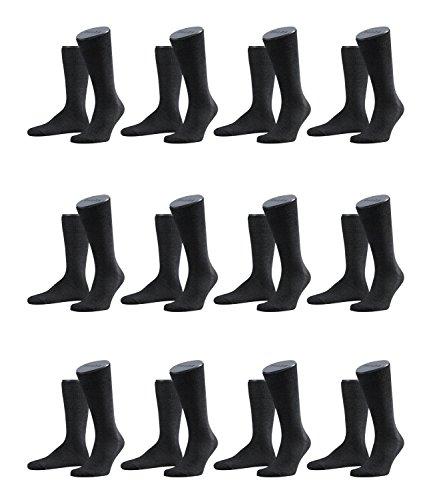 FALKE Herren Family Socken Strümpfe 14645 12er Pack, Sockengröße:43-46;Artikel:14645-3080 anthrazit mel.