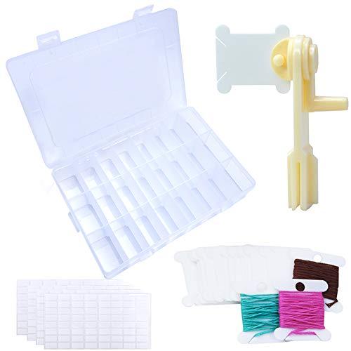 BCMRUN Juego de bobinas de hilo dental con caja organizadora de hilo de bordar, 120 bobinas de hilo de plástico duro, 1 bobina de hilo de lana, 256 unidades (4 hojas) pegatinas para bordado, hilo de