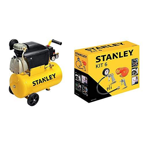 Stanley D211/8/24 Compressore 24 Litri 2Hp, Giallo, 24 Kg & Kit 6 Pezzi Set per Aria Compressa - Kit