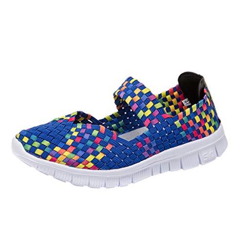 Frauen Damen Wasser Schuhe Woven Light Slip On Sportschuhe Casual Geflochtene Leichte Elastische GemüTlich Slip-On Loafers Turnschuhe Draussen Sport Wanderschuhe(Blau,39 EU)