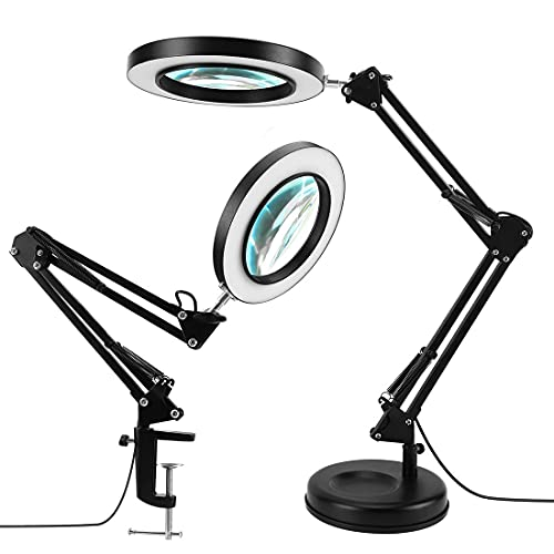 LANCOSC 2-in-1 Magnifying Glass with Light and Stand, 3 Color Modes Stepless Dimmable, 5-Diopter Real Glass Magnifying Desk Lamp & Clamp, LED Lighted Magnifier for Repair, Reading, Crafts, Close Works
