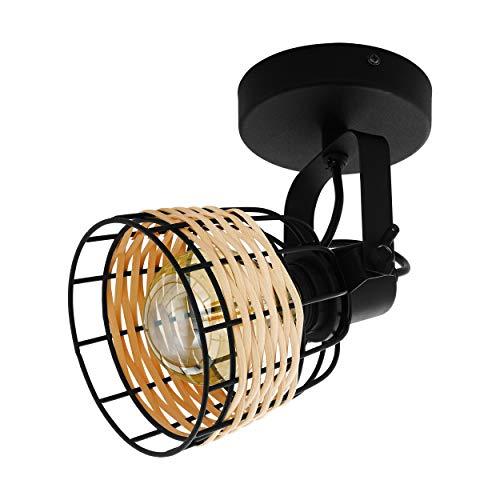 EGLO Deckenlampe Anwick 1, 1 flammige Deckenleuchte Vintage, Boho, Deckenstrahler aus Stahl und Rattan, Wohnzimmerlampe in Schwarz, Natur, Küchenlampe, Spot mit E27 Fassung