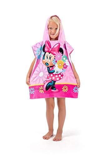 Minnie Mouse Badeponcho mit Blumen Badetuch Bademantel Kapuzen Poncho Handtuch für Kinder Baumwolle