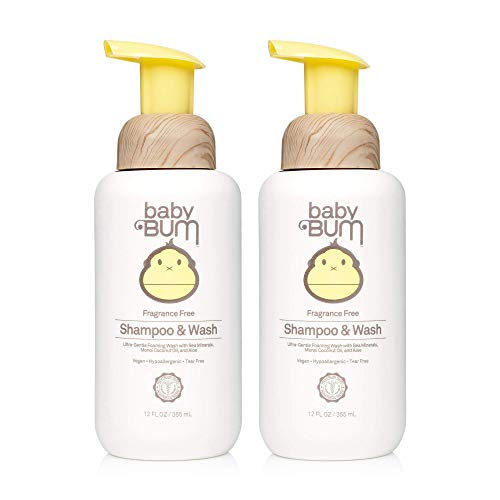 Baby Bum Shampoo & Wash   Tear Free Foaming Soap for Sensitive Skin with Nourishing Coconut Oil   Fragrance Free   Gluten Free and Vegan   12 FL OZ   2 Pack