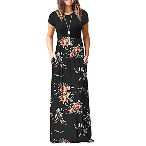 TIFIY Sommerkleid Damen,Elegante Casual Ärmel Oansatz Druck Maxi Blumen Langes Kleid Boho Strand Partykleider Hemdkleider (A_ f,M