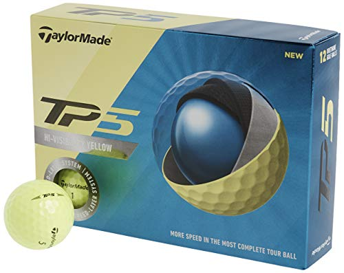 TaylorMade TP5 Golf Balls, Yellow (One Dozen)