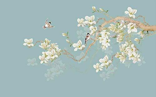 HDOUBR - Carta da parati fotografica grande, motivo Magnolia, realizzato a mano, motivo: uccellini cinesi, 250 x 175 cm
