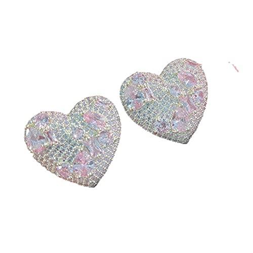 FOOSKOO Pendientes para Mujer Pendientes para Las Mujeres Tachuelas del Oído Añor Corazón Colorido Zircon Pendiente Brillante para Las Mujeres/Novia/A Las Niñas/Esposa/Mamá (Color : Pink)