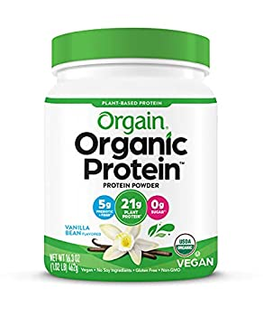 Orgain Organic Plant Based Protein Powder Vanilla Bean - Vegan Low Net Carbs Non Dairy Gluten Free Lactose Free No Sugar Added Soy Free Kosher 1.02 Pound  Packaging May Vary