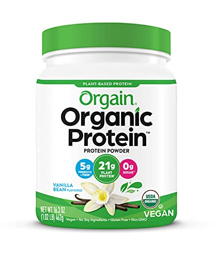 Orgain Organic Plant Based Protein Powder, Vanilla Bean - Vegan, Low Net Carbs, Non Dairy, Gluten Free, Lactose Free, No Sugar Added, Soy Free, Kosher, 1.02 Pound (Packaging May Vary)