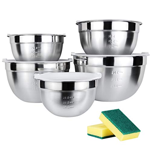 Juning 18/10 Edelstahlschüssel Set Bestehend aus 5 Stück, mit Kunststoffdeckel, 3L / 2L / 1.6L / 1.2L / 0.8L, Verwenden Sie als Rührschüssel, Salatschüssel, Aufbewahrungsschüssel, Servierschale