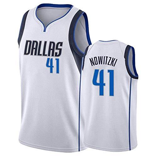 Herren Basketball Kleidung 41# Dirk Nowitzki Dallas Mavericks Trikot Retro Swingman Basketball Trikot Turnhalle Sport Shirts T-Shirt Tops Beste Geburtstagsgeschenk (S-XXL)-White-M