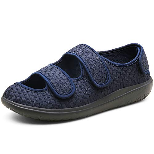 Hombre Sandalias Diabéticas Mujer Zapatillas Zapatos Diabeticos Antibacteriano Sanitized Ajustable Edema Zapatos hinchados Extra Ancha Zapatillas Adulto-Unisex,Azul,44 EU
