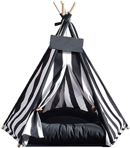 Portable outdoor tent Cute pet cat tent teepees play house pet, dogs and cats moving bed tent kennel small dog in indoor and outdoor tent no mat-S (Color : Without mat, Size : Large)