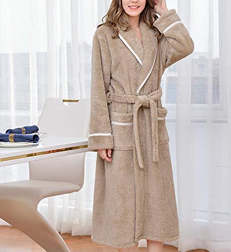 Charm4you Franela Conjunto de Pijama para Mujer,Pijama cálido de Pareja de Franela Gruesa-Caqui A_XXL #,Conjunto de Pijama Forro Polar