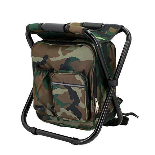 Sehrgo Rucksack-Angelhocker, Rucksackstuhl Campingstuhl-Rucksack mit Kühler Isolierte Picknick Tasche, Camouflage Portable Wandern Sitz Tisch Tasche