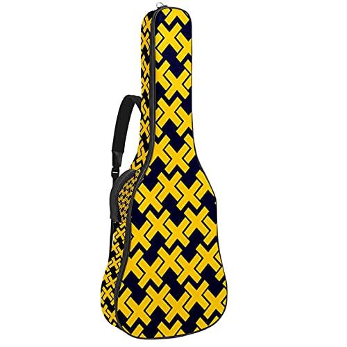Paquete de guitarra acústica para principiantes, tamaño completo, con tapa de abeto, color negro, amarillo, geométrico, 108,9 x 42,8 x 11,9 cm