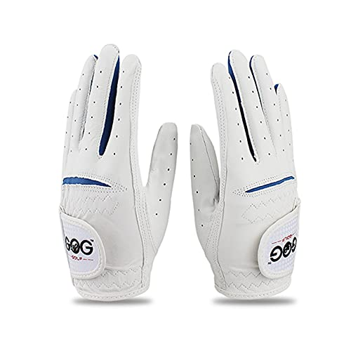 NAKITS Golf Gloves Golf Gloves Kids Left Hand Right Hand Golf Glove Boys Girls Solf Leather Breathable 1 Pair (Color : 1 Pair Blue, Size : Small)