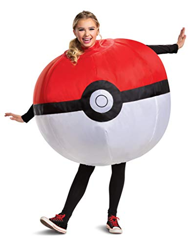 Disguise Pokemon Poke Ball Inflatable Costume, Red & White, Adult Size