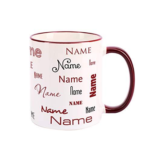 Herz & Heim® Namenstasse in verschiedenen Schriftarten 300 ml aus Keramik mit Farbauswahl Dunkelrot