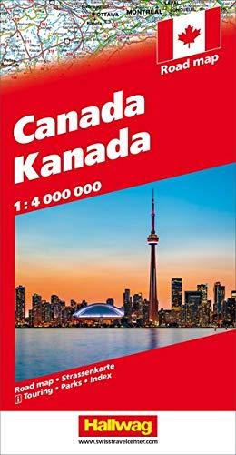 Hallwag Straßenkarten, Kanada: Karte mit Distoguide, Reiseinformationen mit Piktogrammen, Sehenswürdigkeiten,...