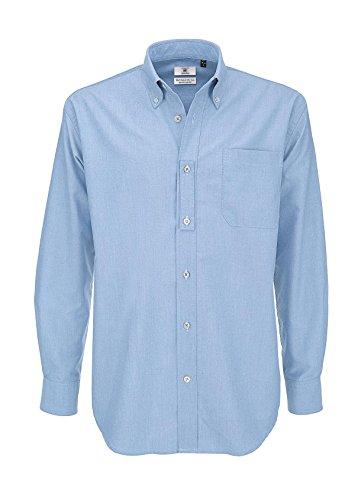 B&C Oxford - Maglietta a maniche lunghe da uomo. Blu (Oxford Blue 000) L