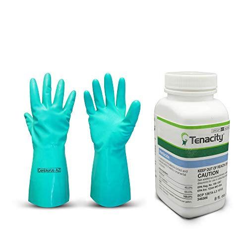 Centaurus AZ Tenacity Herbicide- Pre and Post-Emergence Herbicide- Weed Killer for Lawns and Turf Grasses, Ideal for Carpetweed, Chickweed, Clover, Crabgrass, Thistle, and Others- 8oz Gloves